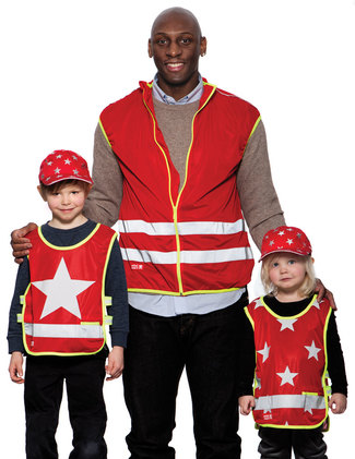 Red reflective vests with Stars, One Star and for adults.