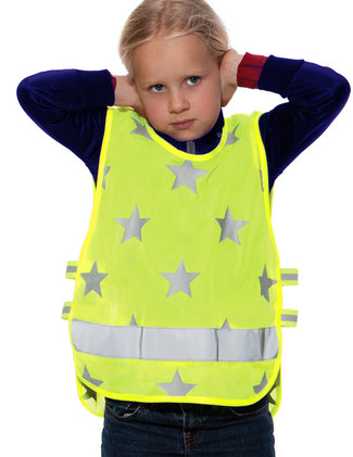 Yellow vest with stars.