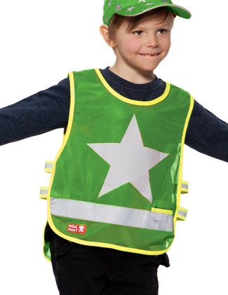 Green vest with One Star in reflective printing.