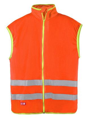 Fluorescerande orange väst med dragkedja.