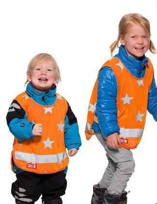 Reflexväst orange med stjärnor för barn.