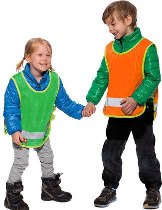 Grön och orange barnvästar utan tryck.