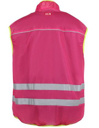 Cerise vest with zipper.