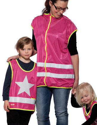 Pink reflective vest, One Star, and pink adult vest.