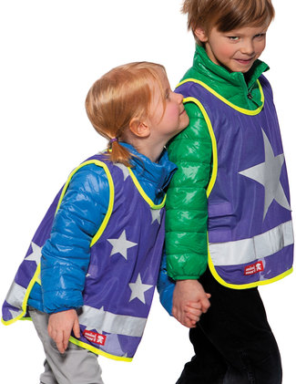 Reflective vest with Stars or One Star, colour plum.