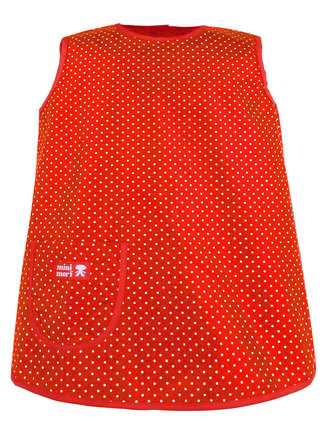 Red apron with dots.