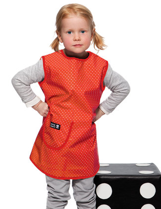 Apron, red with white dots.