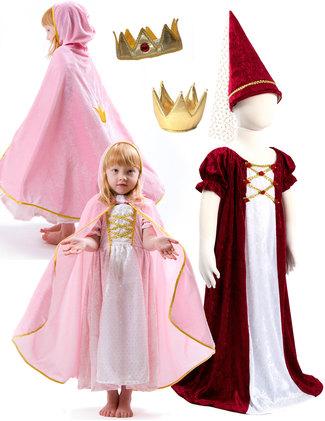 Princessklänning med cape och krona. Junfruklänning med strut, kungakrona.