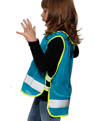 Turquoise reflective vest with optional logo printing.