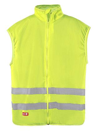 Fluorescerande gul säkerhetsväst med dragkedja.